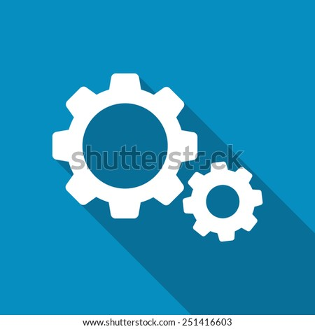 Settings icon. Cogwheel, gear button. Modern design flat style icon with long shadow effect - stock vector