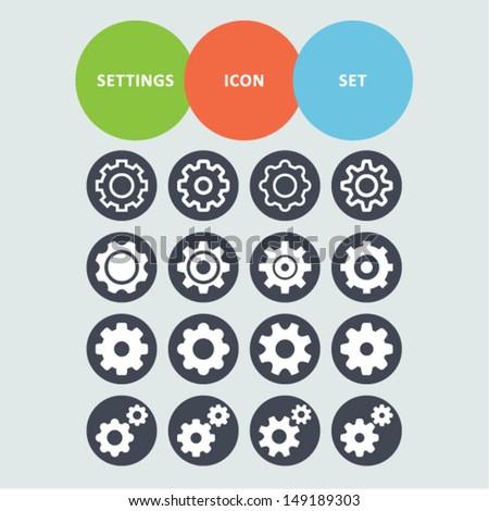 Settings icon set - stock vector