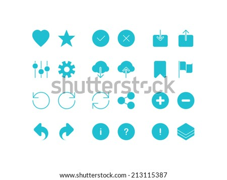 Settings, social and arrows set. Trendy thin icons for web and mobile. Full version - stock vector