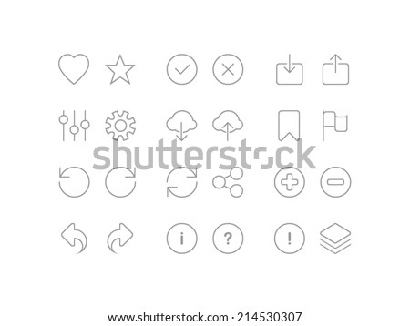 Settings, social and arrows set. Trendy thin icons for web and mobile. Line version - stock vector
