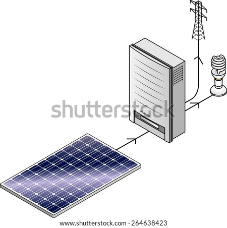 Setup diagram: A domestic household solar power kit with polycrystalline solar panels and inverter. - stock vector