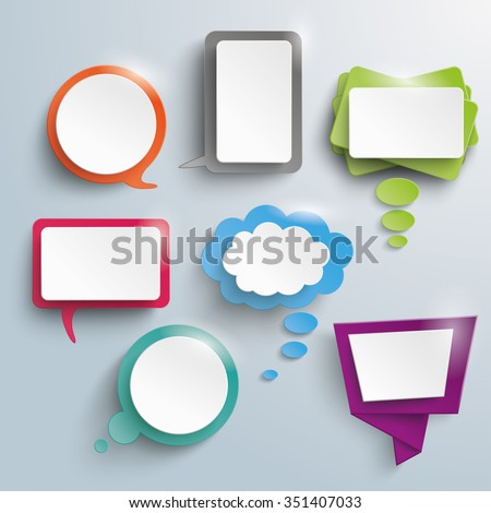 Seven abstract speech and thought bubbles on a gray background. Eps 10 vector file. - stock vector