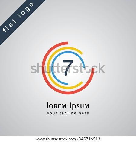 seven circle alphabet logo - stock vector