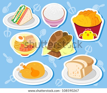seven cute food stickers with noodles, chicken, sandwich, toast, rice, bread. - stock vector