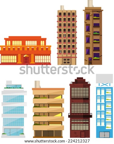 Seven different buildings set vector illustration collection. Residential Building Apartment House Homes Construction Set 2 - stock vector