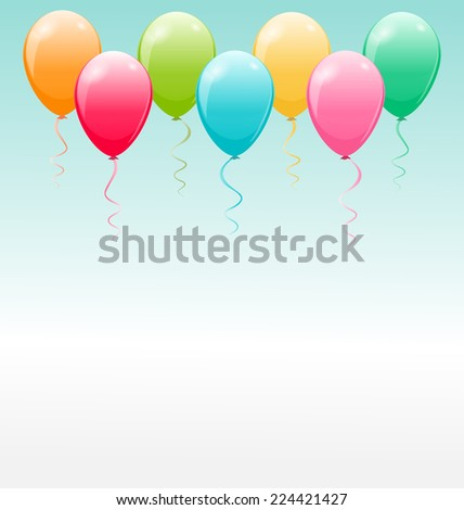 Seven multicolor air balls flying in the sky - stock vector