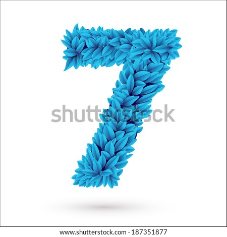 Seven 7 number. Blue font vector element isolated on white. - stock vector