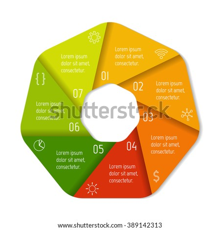 Seven options infographic banner. Isolated polygonal workflow layout. Number banner template for diagram, presentation or chart. 7 parts progress steps for tutorial. Business concept sequence banner. - stock vector
