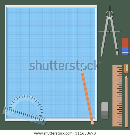 Seven things for mechanical drawing. Erasers and pencils in two variations, ruler, protractor, compasses, pencil sharpener, graph paper, plotting paper. - stock vector