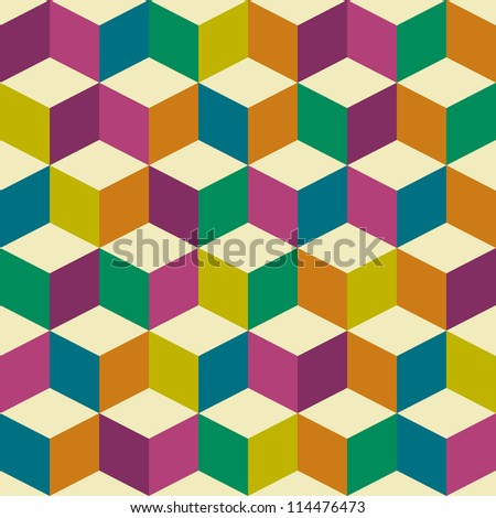 Seventies inspired jester background with seamless repeating tile background - stock vector
