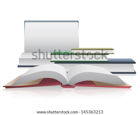 Several books isolated on white background.  - stock vector