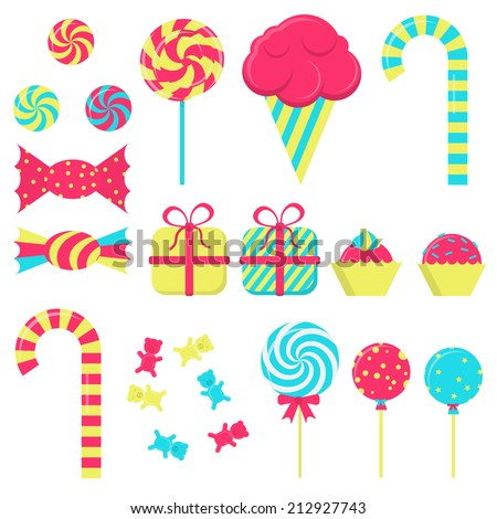 Several candies in white background. Lollipop, ice cream, stick candy, bubble gum, gift wrapping - stock vector