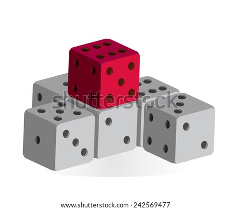 Several dice - gray and red (vector) - stock vector