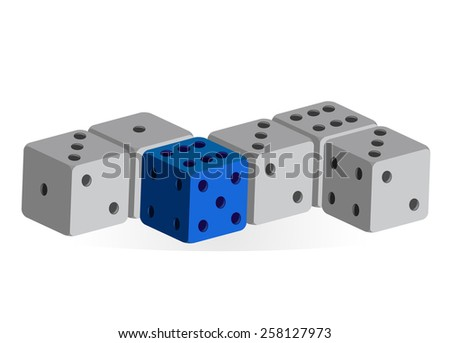 Several dice in a row - one blue, others gray (vector) - stock vector