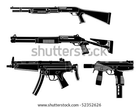 Several guns, shotgun, modern,old, in the vector - stock vector