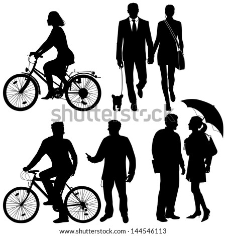 several people, city live - vector silhouettes - stock vector