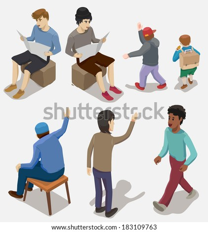 Several people Isometric, Vector illustration - stock vector