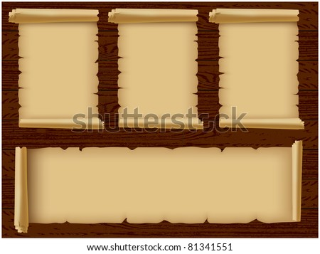 Several rolls of parchment ragged located on a wooden background texture - stock vector
