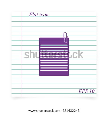 Several sheets of paper and a metal paper clip. - stock vector