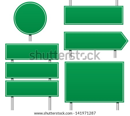 Several Types of Empty / Blank Road signs (eps 8 vector with nice blends) - stock vector