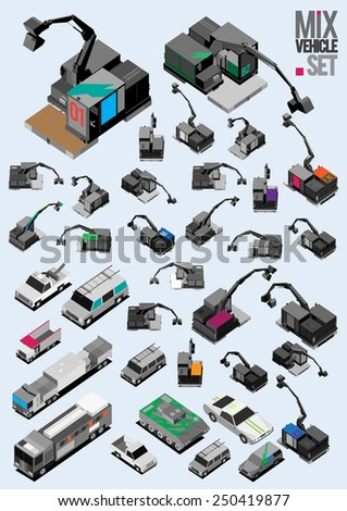 several vehicle isometric set. industrial, auto mobile, car vector - stock vector