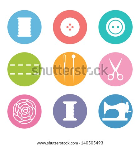 Sew icon set in flat style - stock vector