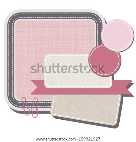 sewed  and crackled speech square patterned element for infographic with clips ribbon and rectangular and round stickers - stock vector