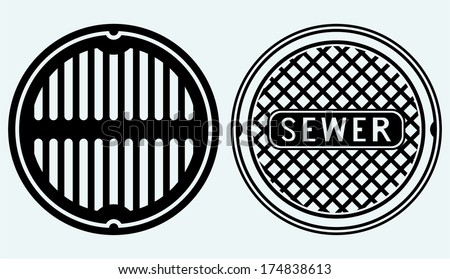 Sewer manhole. Image isolated on blue background - stock vector