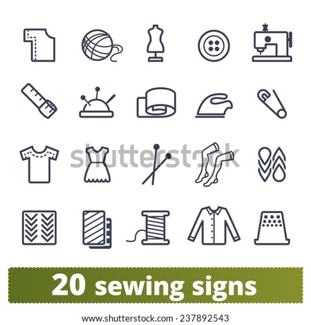 Sewing and knitting icons: vector set of needlework signs. - stock vector