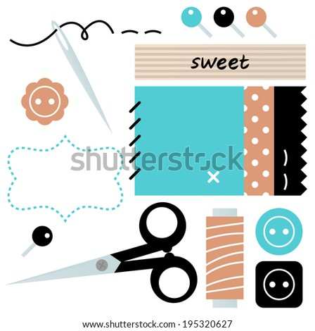 Sewing and Needlework accessories isolated on white  - stock vector