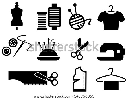 Sewing black icons - stock vector