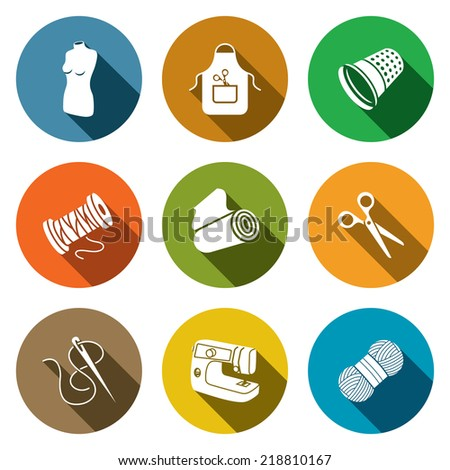 Sewing clothing manufacture flat icon collection - stock vector