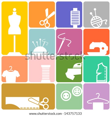 Sewing colored icons - stock vector