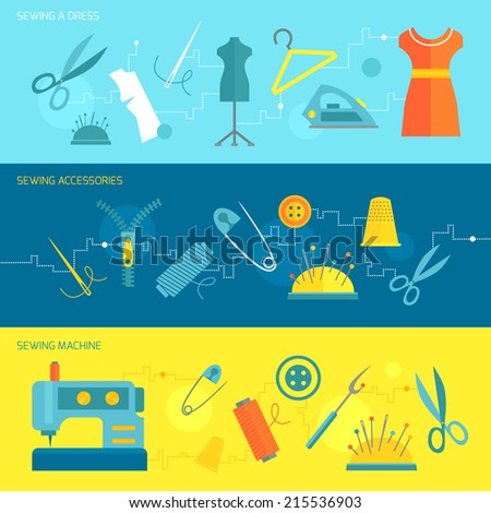 Sewing dress accessories machine banner set isolated vector illustration - stock vector