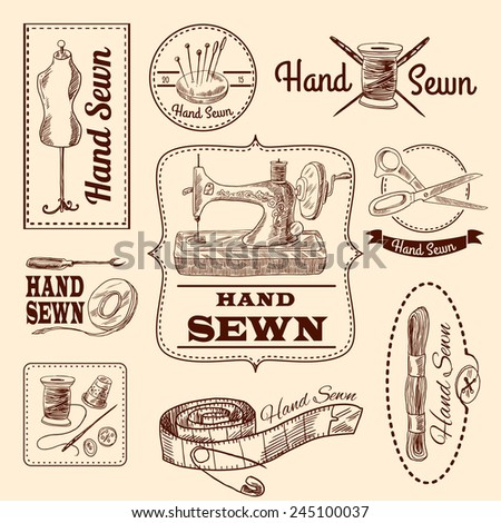 Sewing emblems hand drawn set with tailor and needlework elements isolated vector illustration - stock vector
