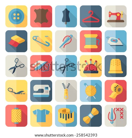 sewing flat icons - stock vector
