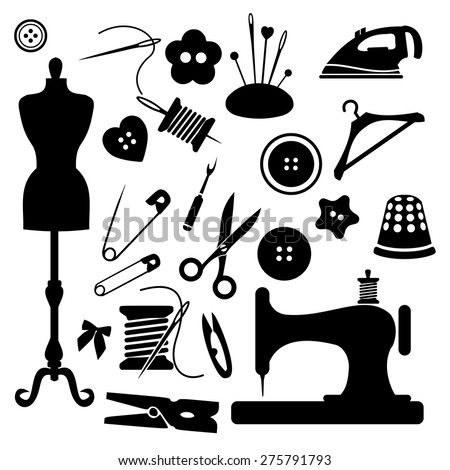 Sewing icon set vector - stock vector