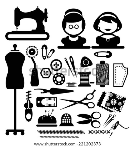 Sewing icons vector - stock vector