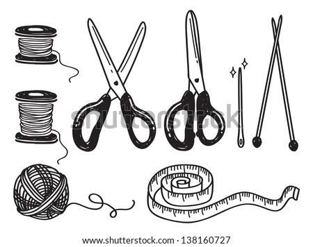 sewing kit doodle - stock vector