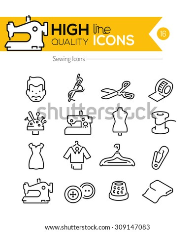 Sewing Line Icons Series - stock vector