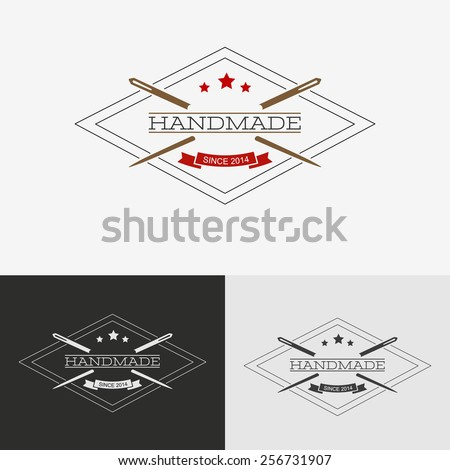 Sewing logo. Needlework or sewing logo with needle and thread for sewing. - stock vector