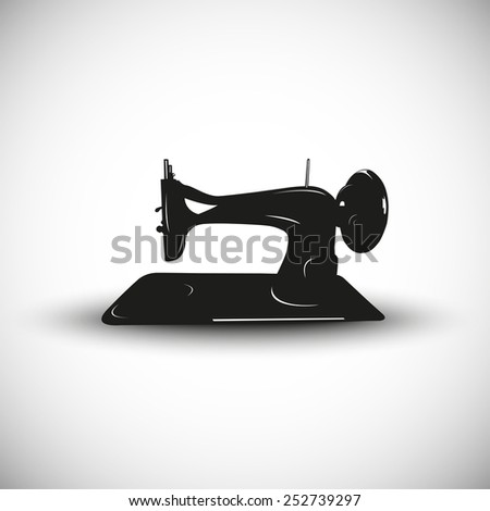 Sewing machine illustration - 3d view design. - stock vector