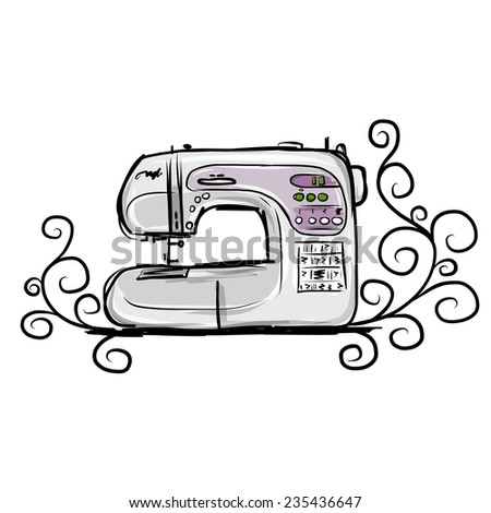 Sewing machine modern, sketch for your design, vector illustration - stock vector
