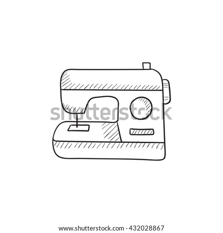 Sewing-machine vector sketch icon isolated on background. Hand drawn Sewing-machine icon. Sewing-machine sketch icon for infographic, website or app. - stock vector