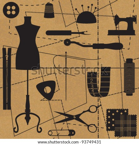 Sewing related symbols with seamless pattern background - stock vector