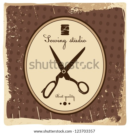 Sewing studio emblem - stock vector