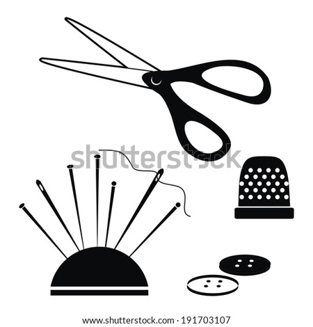 sewing supplies   - stock vector