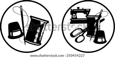 Sewing symbols - stock vector