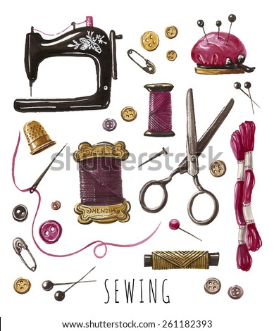 Sewing work. Vector hand drawn set with sewing and knitting tools - stock vector
