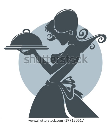 sexy and young waiter  silhouette  in retro style - stock vector